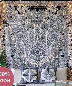 Indische Hamsa Baumwolle Wandbehang
