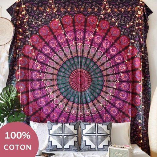 Lila Baumwolle indischen Wandbehang