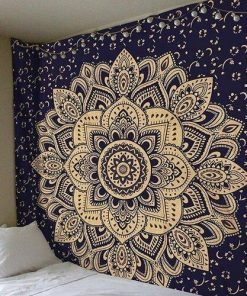 Wandbehang Blau & Gold Mandala