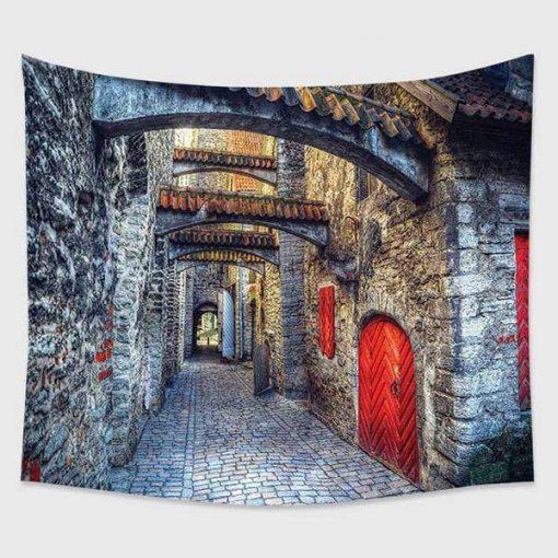 Medieval Street Wandbehang